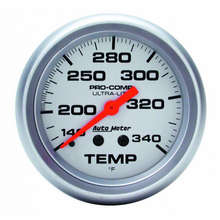 "Auto Meter 4435 - 2-5/8"" Temp Gauge, 140-340' F, 8' Tubing, Mechanical"