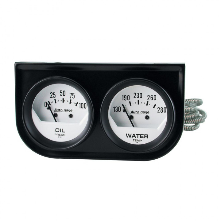 "Auto Meter 2323 - 2"" 2 Gauge Console, Oil/ Water, Mechanical, Black"