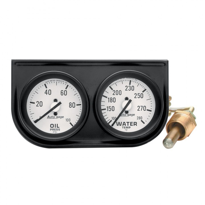 "Auto Meter 2326 - 2"" 2 Gauge Console, Oil/ Water, Mechanical, Black"
