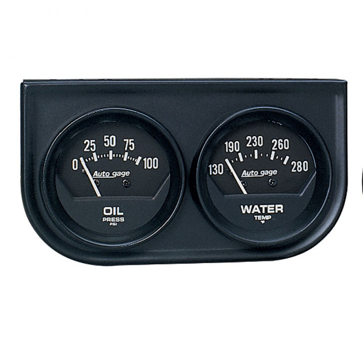 "Auto Meter 2345 - 2"" 2 Gauge Console, Oil/Water, Mechanical, Black"