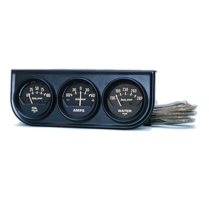 "Auto Meter 2347 - 2"" 3 Gauge Console, Oil/Amp/Water, Mechanical, Black"