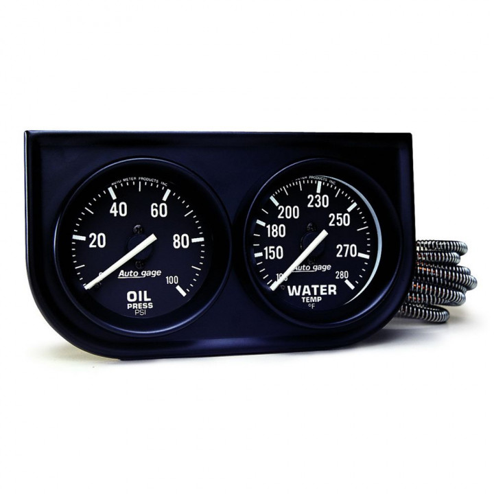 "Auto Meter 2392 - 2"" 2 Gauge Console, Oil/ Water, Mechanical, Black"