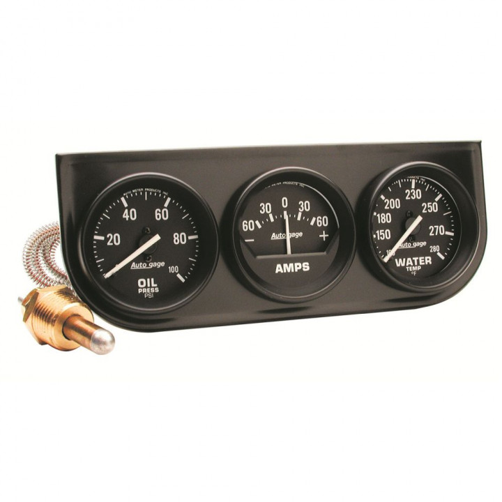 "Auto Meter 2393 - 2"" 3 Gauge Console, Oil/ Amp/Water, Mechanical, Black"