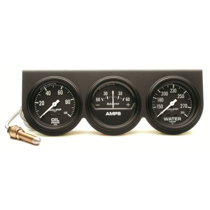 "Auto Meter 2394 - 2-5/8"" 3 Gauge Console, Oil/Amp/Water, Mechanical, Black"
