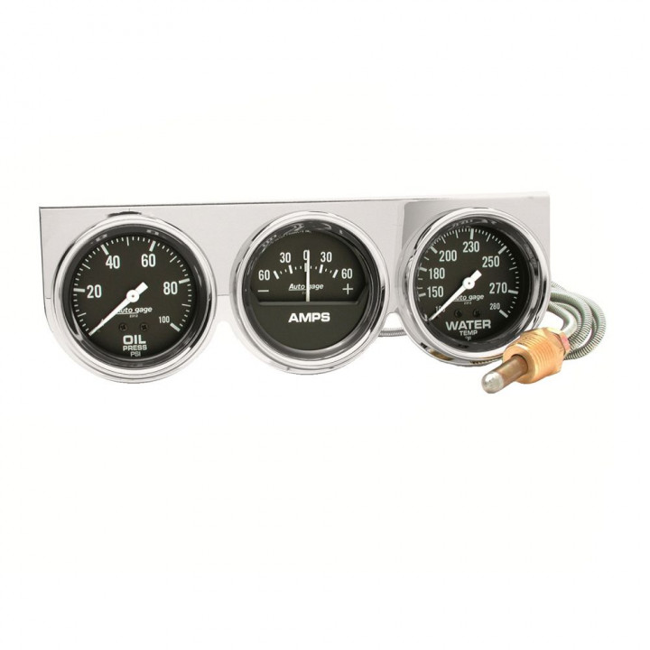 """Auto Meter 2395 - 2-5/8"""" 3 Gauge Console, Oil/Amp/Water, Chrome"""