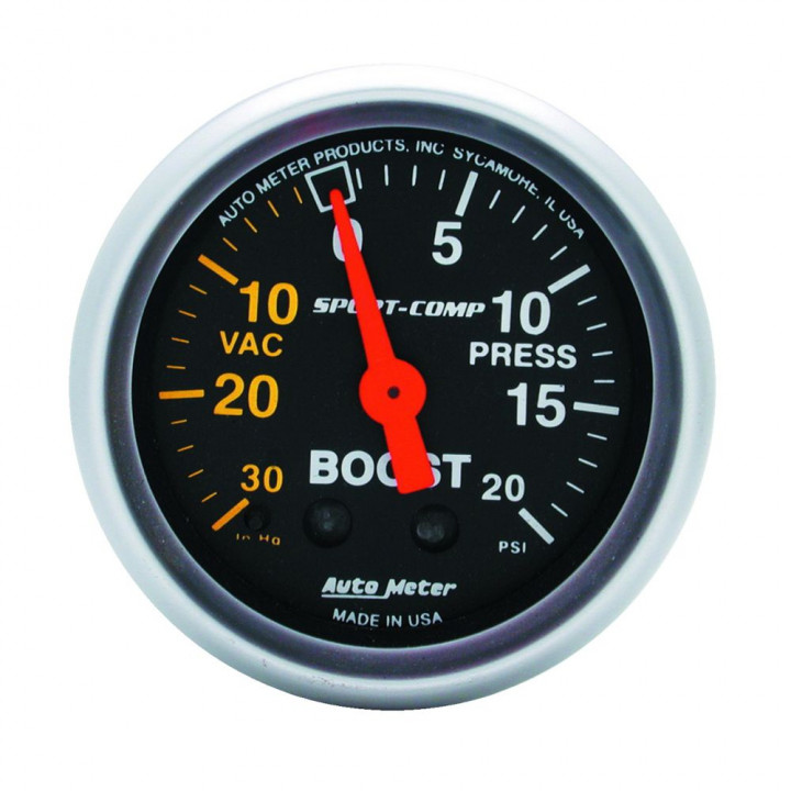 """Auto Meter 3301 - 2"""" Boost-Vac, 30 in. HG/ 20 PSI, Mechanical, Sport-Comp"""