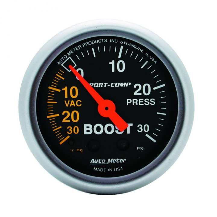 """Auto Meter 3303 - 2"""" Boost-Vac/Press, 30 in. HG/30 PSI, Mechanical"""