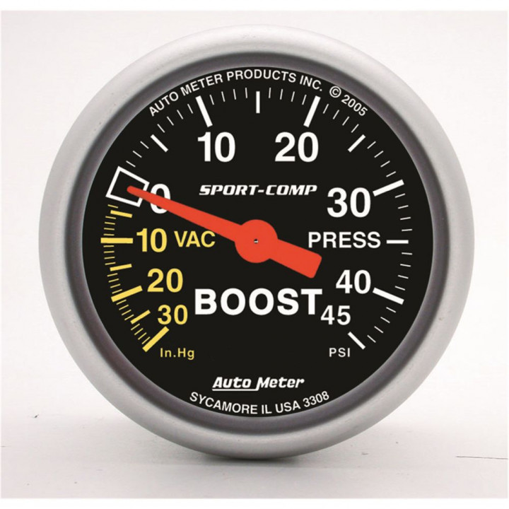 """Auto Meter 3308 - 2-1/16"""" Boost-Vac, 30 In HG/45 PSI, Mechanical"""