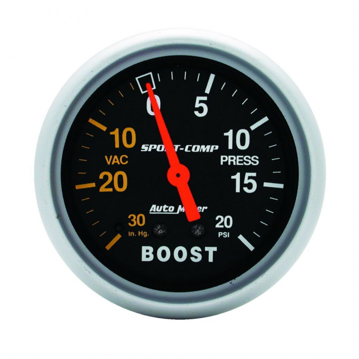 """Auto Meter 3401 - 2-5/8"""" Boost-Vac/Press, 30 in. HG/20 PSI, Mechanical"""