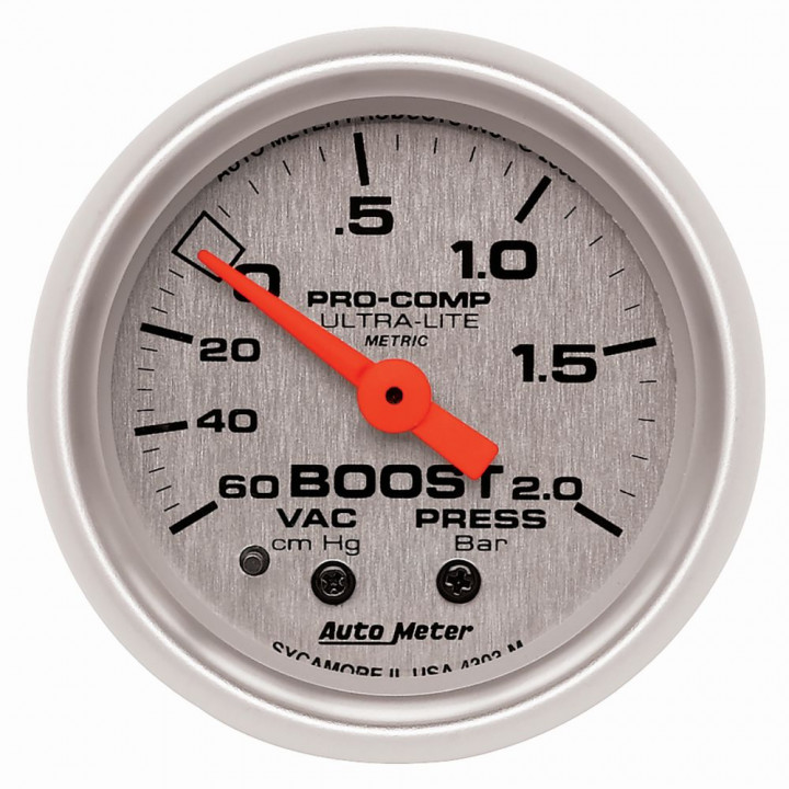 "Auto Meter 4303-M - 2"" Boost-Vac, 60 Cm Hg-2.0 Bars, Mechanical"