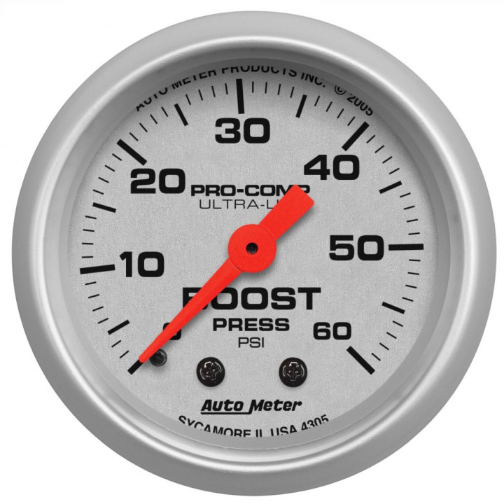 "Auto Meter 4305 - 2"" Boost, 0-60 PSI, Mechanical Ultra-Lite"