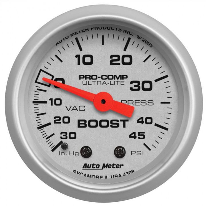 "Auto Meter 4308 - 2-1/16"" Boost-Vac, 30 In HG/45 PSI, Mechanical, UI"