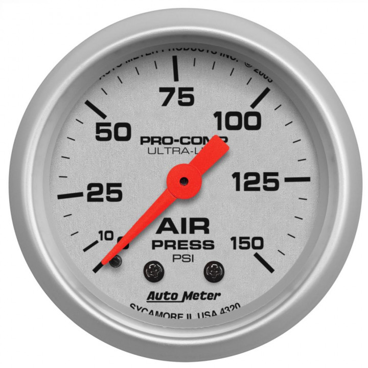 "Auto Meter 4320 - 2"" Air Press, 0-150 PSI, Mechanical, Ultra-Lite"