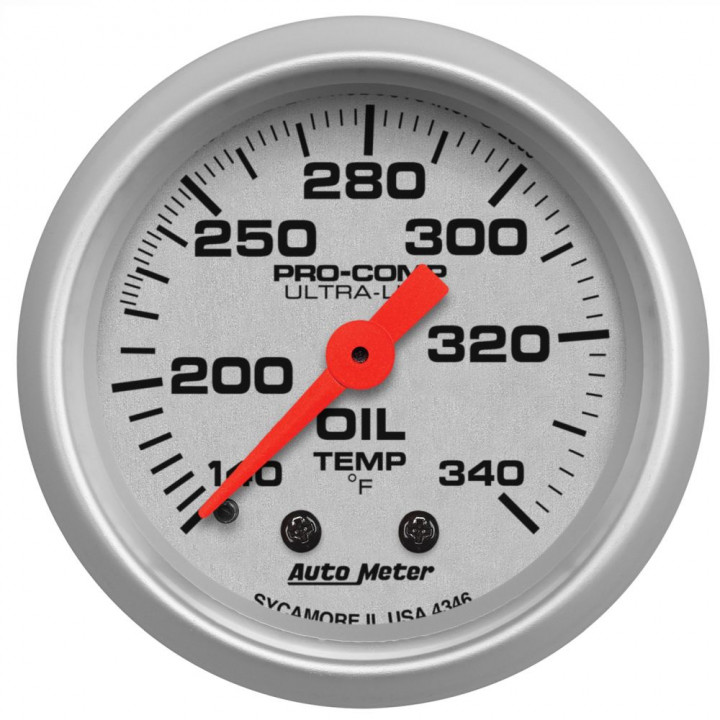 "Auto Meter 4346 - 2"" Oil Tank Temp, 140-340'F, Mechanical, Ultra-Lite"