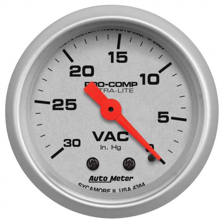 "Auto Meter 4384 - 2"" Vacuum, 30 in. Hg, Mechanical, Ultra-Lite"