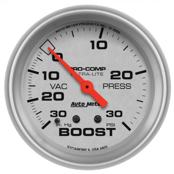 """Auto Meter 4403 - 2-5/8"""" Boost-Vac, 30 in. HG/30 PSI, Mechanical, Ul"""