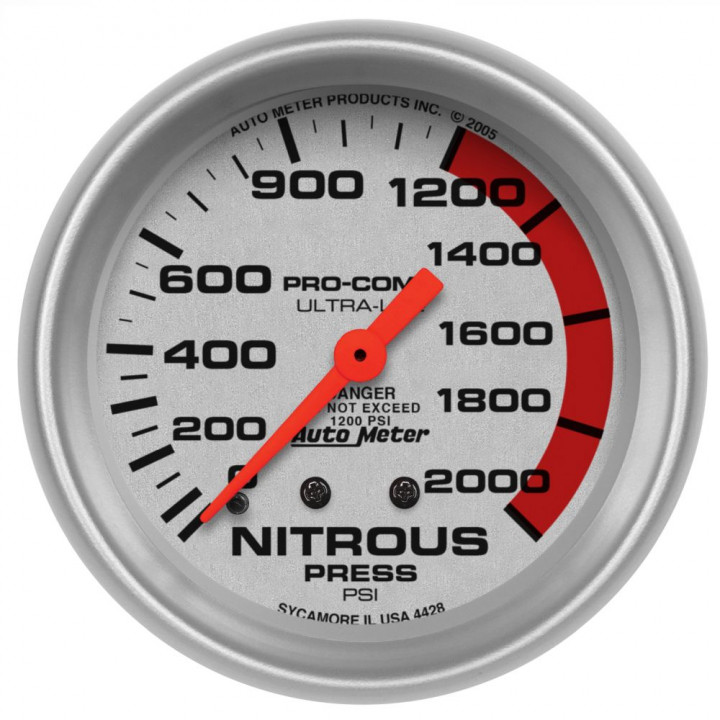 "Auto Meter 4428 - 2-5/8"" Nitrous, 0-2000 PSI, Mechanical"