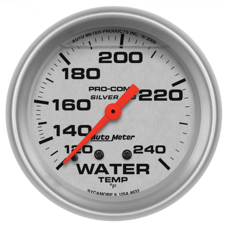 "Auto Meter 4632 - 2-5/8"" Water Temp, 120-240'F, Mechanical, LFG, Silver"