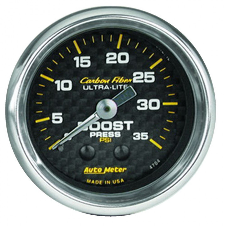 "Auto Meter 4704 - 2"" Boost, 0-35 PSI, Mechanical Carbon Fiber"