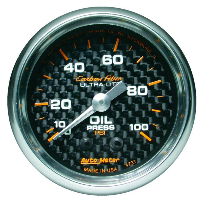 "Auto Meter 4721 - 2"" Oil Press, 0-100 PSI, Mechanical, Carbon Fiber"