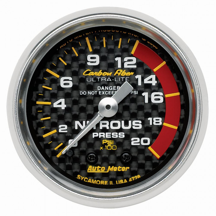 "Auto Meter 4728 - 2"" Nitrous, 0-2000 PSI, Mechanical, Carbon Fiber"