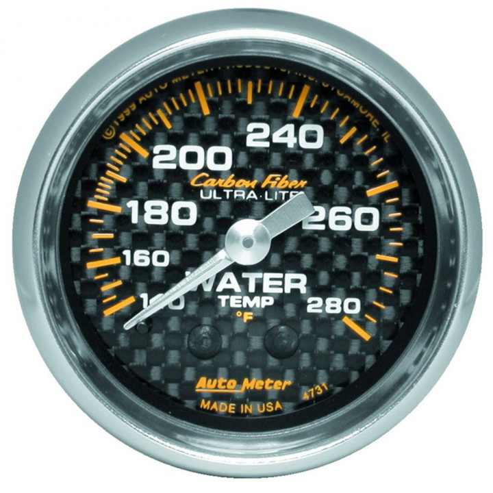 "Auto Meter 4731 - 2"" Water Temp, 140-280'F Mechanical, Carbon Fiber"