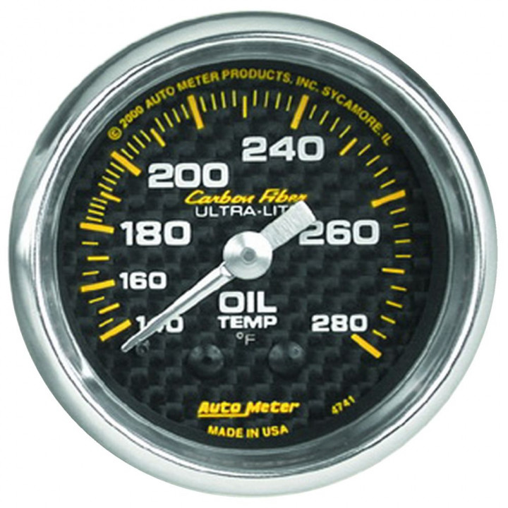 "Auto Meter 4741 - 2"" Oil Temp, 140-280'F, Mechanical, Carbon Fiber"