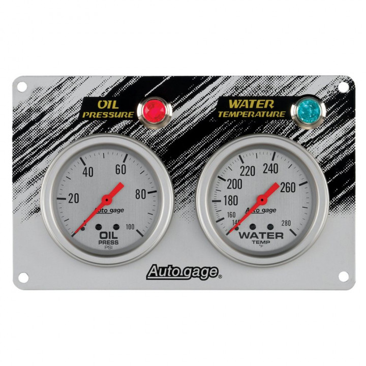 "Auto Meter 7065 - 2-5/8"" 2 Gauge Race Panel, Ag Silver"