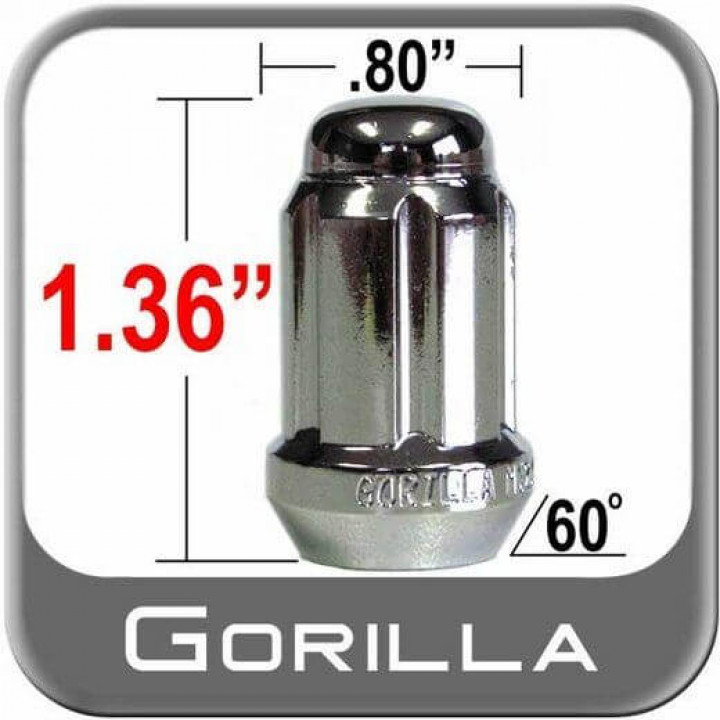 Gorilla 38248SD - Small Diameter Acorn Lug Nuts - Chrome (Quantity: Single)