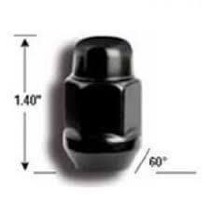 "Gorilla 41147BC - Acorn Bulge Seat Black Chrome 3/4"" Hex Lug Nuts Clamshell 14mm x 1.50 (Quantity: Pack Of 4)"