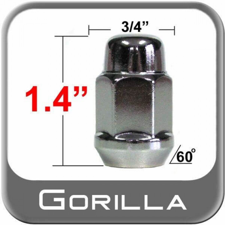 "Gorilla 41187HT - Acorn Bulge Seat Heat Treated 3/4"" Hex Lug Nuts Clamshell 1/2"" (Quantity: Pack Of 4)"