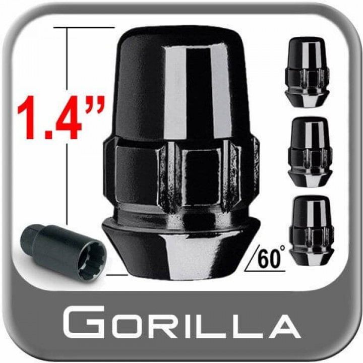 "Gorilla 71481NBC - Gorilla Lock Acorn Black Chrome 3/4"" Hex (4-Pack) 1/2"" Thread"