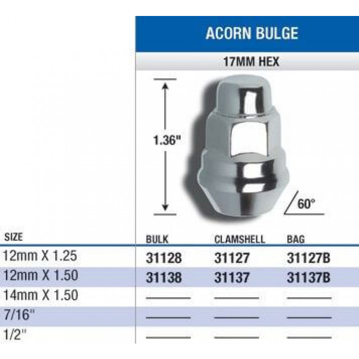 Gorilla 31127 - Acorn Bulge Seat (17mm HEX) Lug Nuts 12mm x 1.25-Closed End (Quantity: Pack Of 4)