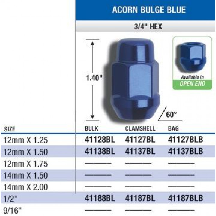 "Gorilla 41127BL - Acorn Bulge Seat Blue/Red (3/4"" HEX) Lug Nuts 12mm x 1.25-Blue (Quantity: Pack Of 4)"