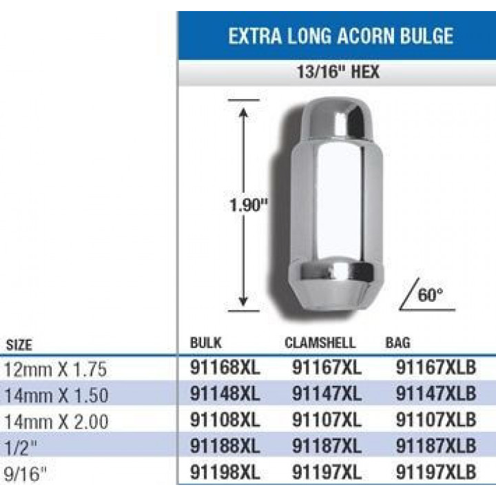 "Gorilla 91197XL - Acorn Bulge Extra Long (13/16"" HEX) Lug Nuts 9/16"" (Quantity: Pack Of 4)"