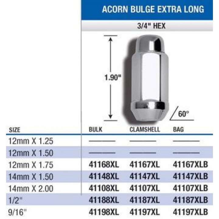 "Gorilla 41187XL - Acorn Bulge Extra Long (3/4"" HEX) Lug Nuts 1/2"" (Quantity: Pack Of 4)"