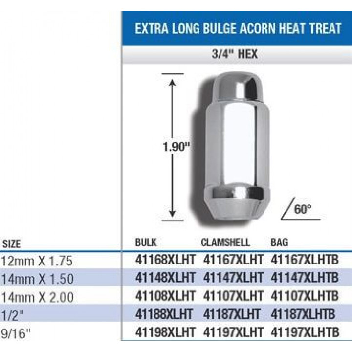 "Gorilla 41108XLHT - Acorn Bulge Extra Long Heat Treated Lug Nuts (3/4"" HEX-1.9"" Long) 14mm x 2.00 (Quantity: Box Of 60)"