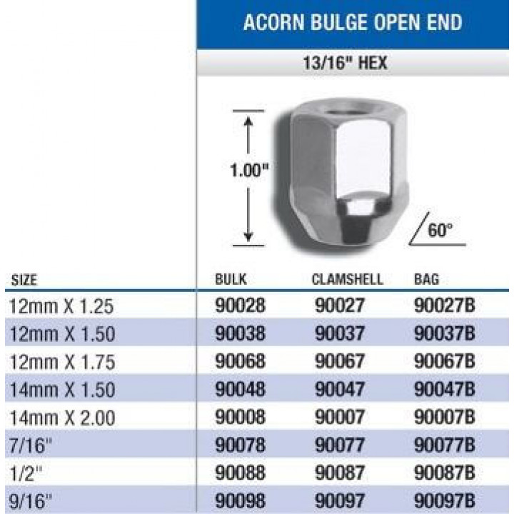"Gorilla 90077 - Acorn Bulge Open End (13/16"" HEX) Lug Nuts 7/16"" (Quantity: Pack Of 4)"