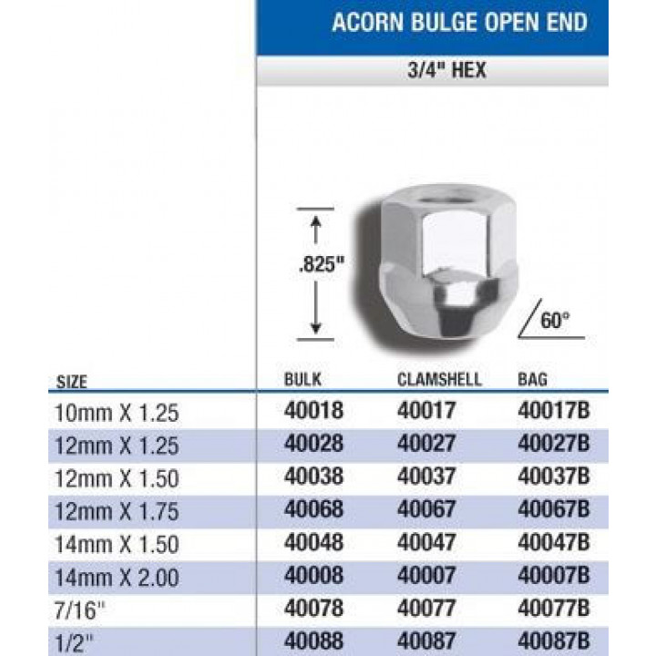 "Gorilla 40067B - Acorn Bulge Open End (3/4"" Hex) Lug Nuts 12mm x 1.75 (Quantity: Pack Of 4)"