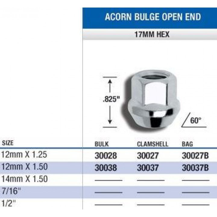 Gorilla 30037 - Acorn Bulge Seat (17mm HEX) Lug Nuts 12mm x 1.50-Open End (Quantity: Pack Of 4)