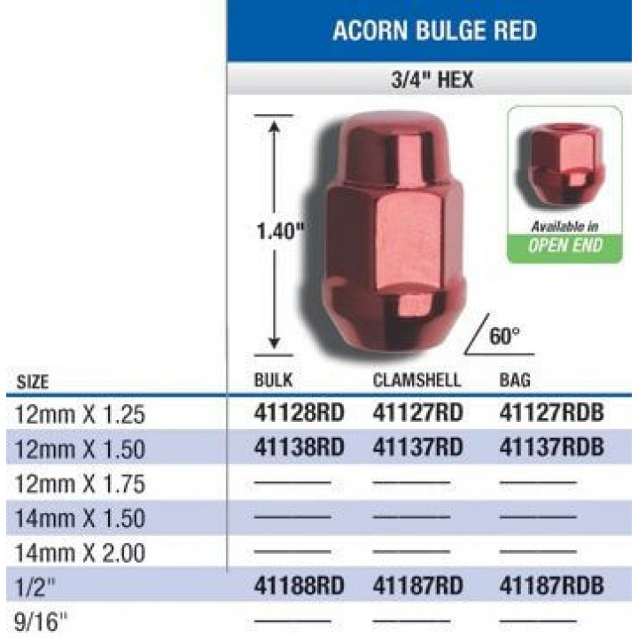 "Gorilla 41187RD - Acorn Bulge Seat Blue/Red (3/4"" HEX) Lug Nuts 1/2""-Red (Quantity: Pack Of 4)"