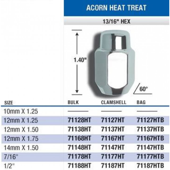 "Gorilla 71167HT - Acorn Heat Treated (13/16"" HEX) Lug Nuts 12mm x 1.75 (Quantity: Pack Of 4)"