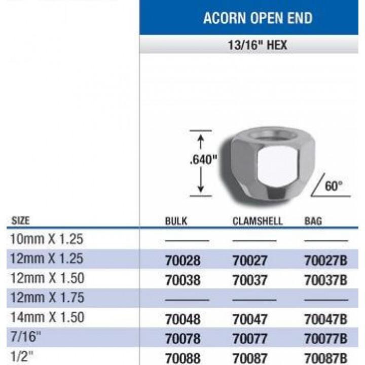 "Gorilla 70028 - Acorn Open End Lug Nuts (13/16"" HEX) 12mm x 1.25 (Quantity: 100)"