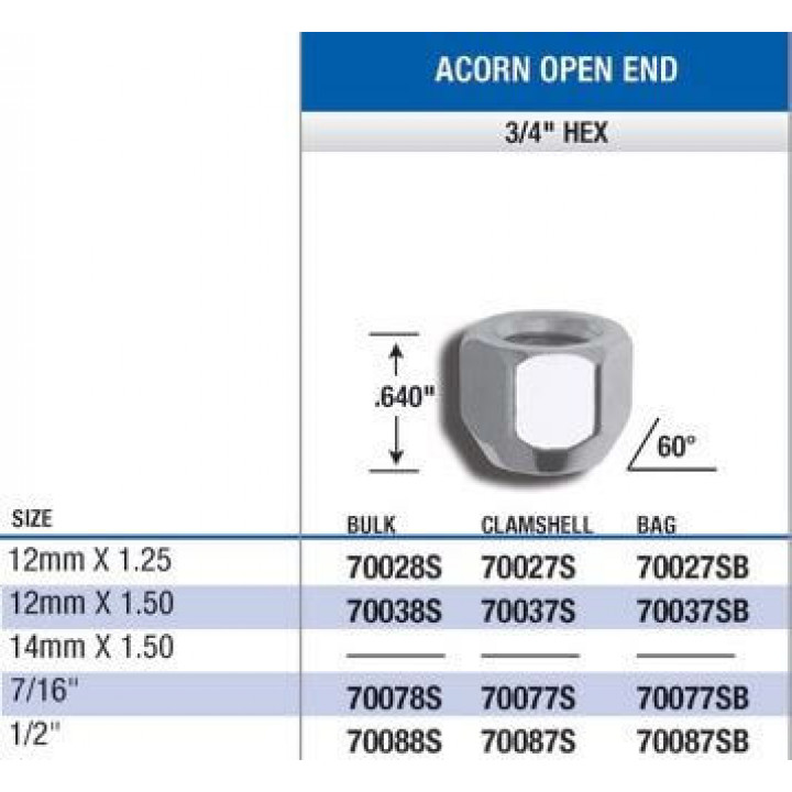 "Gorilla 70028S - Acorn Open End Lug Nuts (3/4"" HEX) 12mm x 1.25 (Quantity: 100)"