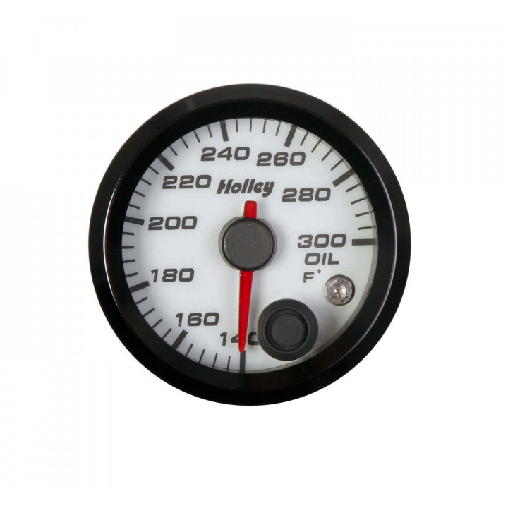 """Holley 26-604W - 2-1/16"""" White Analog Oil Temperature Gauge"""