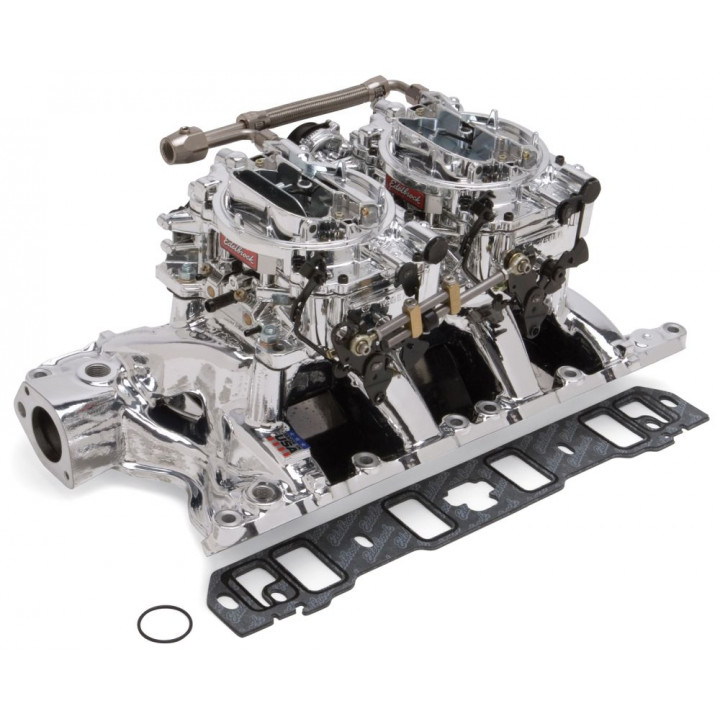 Edelbrock 20854 - Performer RPM Dual Quad Air-Gap Manifold and Carburetor Kits